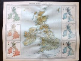 Bartholomew 1922 Large Map. British Isles, Vegatation & Climate.